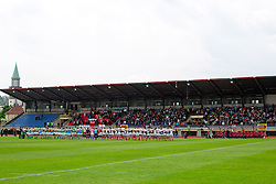 Teams at national anthem before rugby match between National team of Slovenia (green) and Bulgaria (white) at EUROPEAN NATIONS CUP 2012-2014 of C group 2nd division, on April 12, 2014, at ZAK Stadium, Ljubljana, Slovenia. (Photo by Matic Klansek Velej / Sportida.com)