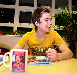 Pop Idol Sam Nixon brings Barnsley to a stand still when he makes a personal appearance the The Mall Alahambra Shopping centre in his home town of Barnsley South Yorkshire<br /> 24 November 2003<br /> <br /> image copyright Paul David Drabble