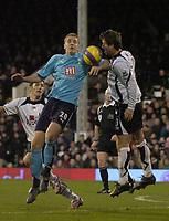 Photo: Olly Greenwood.<br />Fulham v Tottenham Hotspur. The Barclays Premiership. 20/01/2007. Tottenham's Michael Dawson and Fulham's Carlos Bocanegra