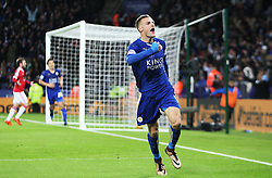 Jamie Vardy of Leicester City celebrates scoring his sides first goal  - Mandatory byline: Jack Phillips/JMP - 07966386802 - 28/11/2015 - SPORT - FOOTBALL - Leicester - King Power Stadium - Leicester City v Manchester United - Barclays Premier League