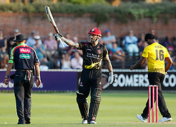 Somerset's Peter Trego celebrates scoring his half century <br /> <br /> Photographer Simon King/Replay Images<br /> <br /> Vitality Blast T20 - Round 1 - Somerset v Gloucestershire - Friday 6th July 2018 - Cooper Associates County Ground - Taunton<br /> <br /> World Copyright © Replay Images . All rights reserved. info@replayimages.co.uk - http://replayimages.co.uk