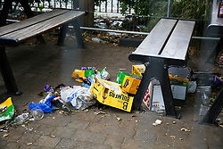 © Licensed to London News Pictures. 28/06/2020. London, UK. Party litter within a cordoned area in Chestnuts Park, Haringey, north London. The sitting area in the park has been closed and fenced since 23 March following the coronavirus lockdown. Photo credit: Dinendra Haria/LNP