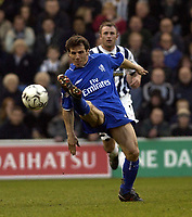 Copyright Sportsbeat. 0208 3926656<br />Picture: Henry Browne<br />Date: 12/01/2003<br />West Bromwich Albion v Chelsea FA Barclaycard Premiership<br />Gianfranco Zola tries to thread a ball through the West Brom defence