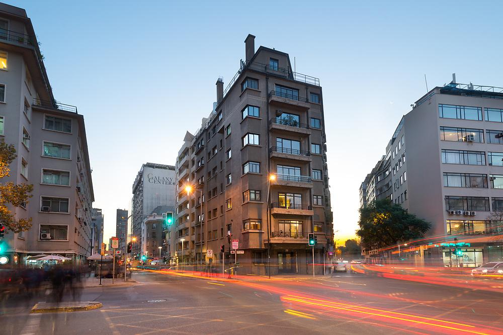 Santiago de Chile, Region Metropolitana, Chile - June 07, 2016: Buildings at Bellas Artes neighborhood in Jose Miguel de la Barra Avenue in Downtown Santiago.