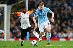 Kevin De Bruyne of Manchester City takes on Fred of Shakhtar Donetsk - Mandatory by-line: Matt McNulty/JMP - 26/09/2017 - FOOTBALL - Etihad Stadium - Manchester, England - Manchester City v Shakhtar Donetsk - UEFA Champions League Group stage - Group F
