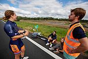 Op de snelweg N31 bij Garyp wordt geoefend met de VeloX 8. In september wil het Human Power Team Delft en Amsterdam, dat bestaat uit studenten van de TU Delft en de VU Amsterdam, tijdens de World Human Powered Speed Challenge in Nevada een poging doen het wereldrecord snelfietsen voor vrouwen te verbreken met de VeloX 8, een gestroomlijnde ligfiets. Het record is met 121,81 km/h sinds 2010 in handen van de Francaise Barbara Buatois. De Canadees Todd Reichert is de snelste man met 144,17 km/h sinds 2016.<br /> <br /> With the VeloX 8, a special recumbent bike, the Human Power Team Delft and Amsterdam, consisting of students of the TU Delft and the VU Amsterdam, also wants to set a new woman's world record cycling in September at the World Human Powered Speed Challenge in Nevada. The current speed record is 121,81 km/h, set in 2010 by Barbara Buatois. The fastest man is Todd Reichert with 144,17 km/h.