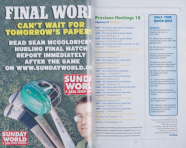 All Ireland Senior Hurling Championship Final,.06.09.2009, 09.06.2009, 6th September 2009, 6092009AISHCF1, Minor Galway 2-15, Kilkenny 2-11, Senior Kilkenny 2-22, Tipperary 0-23, Sunday World,