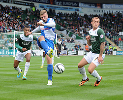 Bristol Rovers' Ryan Brunt plays the ball on  - Photo mandatory by-line: Dougie Allward/JMP - Tel: Mobile: 07966 386802 07/09/2013 - SPORT - FOOTBALL -  Home Park - Plymouth - Plymouth Argyle V Bristol Rovers - Sky Bet League Two