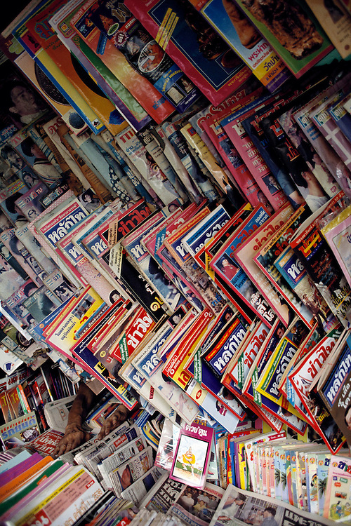 Magazine shop in Chiang Mai, Thailand. Material World Project.