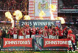 Bristol City Players celebrate with the JPT Trophy - Photo mandatory by-line: Joe Meredith/JMP - Mobile: 07966 386802 - 22/03/2015 - SPORT - Football - London - Wembley Stadium - Bristol City v Walsall - Johnstone Paint Trophy Final