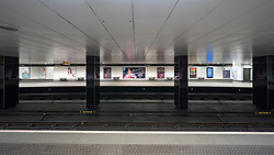 Glasgow, Scotland, UK. 1 April, 2020. Effects of Coronavirus lockdown on Glasgow life, Scotland. Empty platforms at St Enoch subway station.