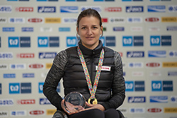 March 3, 2019 - Tokyo, Tokyo, Japan - Schar Manuela (SUI) holds up the winner's trophy during the awards ceremony following his victory in the wheelchair race of the Tokyo Marathon 2019 in Tokyo, Japan, March 3, 2019. Some 38,000 runners participated in the thirteenth edition of the Tokyo Marathon, one of the six World Marathon Majors. (Credit Image: © Alessandro Di Ciommo/NurPhoto via ZUMA Press)
