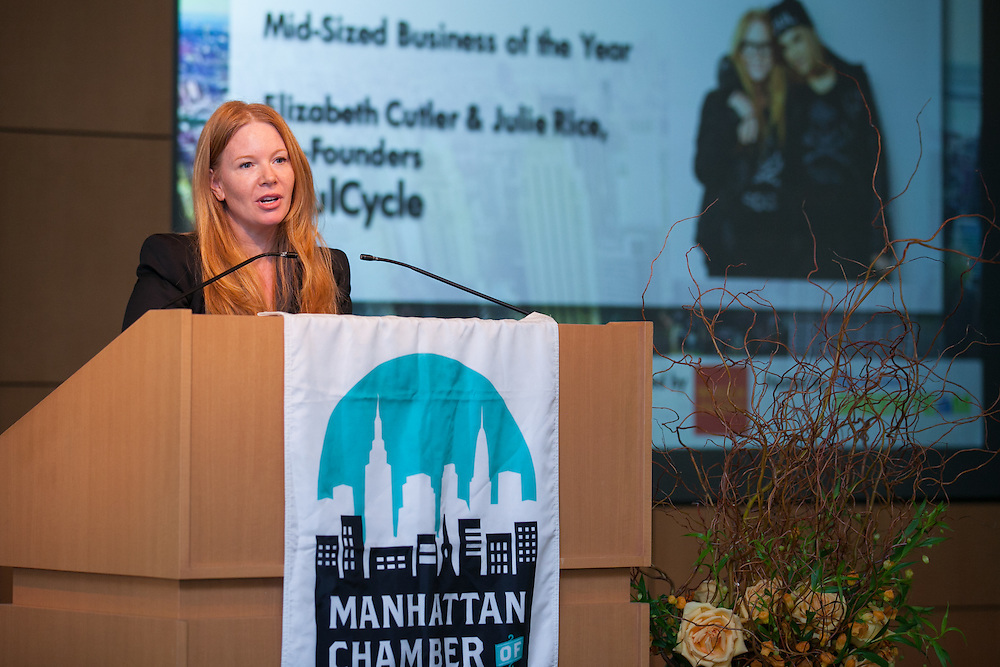 Mid-Sized Business of the Year awardee Elizabeth Cutler, Co-founder of SoulCycle. Celebrating the business leaders in New York City, who have built outstanding businesses - contributing to the economy and community as well. The MCC Business Awards Breakfast is the Manhattan Chamber's premiere event adn was attended by over 250 entrepreneurs, business owners, executives and legislative leaders in New York City. (Photo: www.JeffreyHolmes.com)