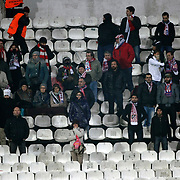Atletico Madrid's Supporters fans during their UEFA Europa League Round of 16, Second leg soccer match Besiktas between Atletico Madrid at Inonu stadium in Istanbul Turkey on Thursday March 15, 2012. Photo by TURKPIX