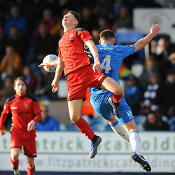 TELFORD COPYRIGHT MIKE SHERIDAN 16/2/2019 - Ryan Barnett of AFC Telford (on loan from Shrewsbury Town Football Club) battles for the ball with Jordan Keane of Stockport during the Vanarama Conference North fixture between Stockport County and AFC Telford United at Edgeley Park
