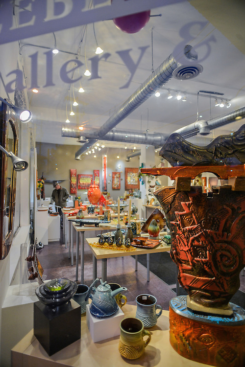 View of items for sale through the front window of Zeber-Martell Clay Studio and Art Gallery.