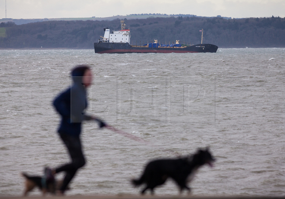 © Licensed to London News Pictures. 27/12/2017. Lee-on-Solent, UK.  A woman running her dogs along the promenade at Lee-on-Solent as the stricken Russian cargo vessel, Mekhanic Yartsev, braces the strong winds this morning. The Maritime and Coastguard Agency are formulating a plan to move her to Southampton. 13 crew members were rescued yesterday when the vessel developed a list, so made her way into the sheltered waters of The Solent before the weather conditions deteriorated. Photo credit: Rob Arnold/LNP