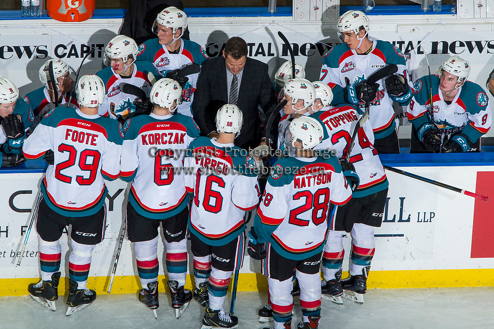 KELOWNA, BC - JANUARY 26: Adam Foote, head coach of the Kelowna Rockets stands at the boards during a time out against the Vancouver Giants at Prospera Place on January 26, 2019 in Kelowna, Canada. (Photo by Marissa Baecker/Getty Images)