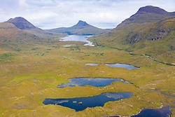 View towards Stac Pollaidh mountain in Inverpolly region of Sutherland , north west Scotland UK