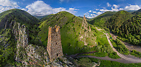 Aerial view of the Old Watch Towers, Ingushetia, Russia
