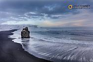 Sea Stack and black sand beach near Vik, Iceland