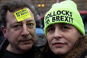 Anti Brexit pro Europe demonstrators with Bollocks to Brexit hat and sticker in Westminster opposite Parliament on the day MPs vote on EU withdrawal deal amendments on 29th January 2019 in London, England, United Kingdom.