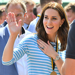 The Duchess of Cambridge after she coxed a boat against her husband, the Duke of Cambridge, in a competitive race between the twinned town of Cambridge and Heidelberg, in Heidelberg, Germany.