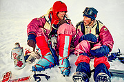 Lincoln Hall (left) and Tim Macartney-Snape meet up at base of Chomolungma North face after completing first ascent White Limbo route, Central Rongbuk glacier,  October 1984, Tibet,
