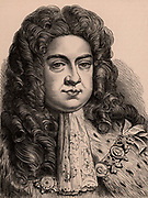 George I (1660-1727) king of Great Britain and Ireland from 1714, Elector of Hanover from 1798. First Hanoverian monarch of the United Kingdom.  Wood engraving c1900.