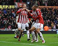 Football - Premier League - Stoke City vs. Sunderland<br /> Robert Huth of Stoke City celebrates scoring the winning goal in extra time at the Britannia Stadium, Stoke