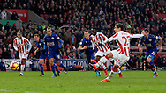 Bojan Krkic of Stoke City scores the first goal from a penalty during the English Premier League match at the Bet 365 Stadium, Stoke on Trent. Picture date: December 17th, 2016. Pic Simon Bellis/Sportimage