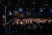 General view of the ballroom inside the Beverley Hilton hotel while Kristina Pink delivers opening statements during the 15th LA Sports Awards, Thursday, Feb. 20 2020, in Beverly Hills, Calif. (Dylan Stewart/Image of Sport)