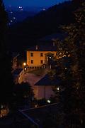 La piazza principale di Montevecchia vista di sera dal Santuario Beata Vergine del Carmelo..The main Montevecchia square in night view from the sanctuary Beata Vergine del Carmelo