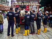 """22 AUGUST 2018 - GEORGE TOWN, PENANG, MALAYSIA:  Workers carry goats into Kapitan Keling Mosque for sacrifice during Eid al-Adha services at the mosque in George Town. It is the oldest mosque in George Town. Eid al-Adha, """"Feast of the Sacrifice"""" is the second of two Islamic holidays celebrated worldwide each year. It honors the willingness of Ibrahim (Abraham) to sacrifice his son as an act of obedience to God's command.   PHOTO BY JACK KURTZ"""