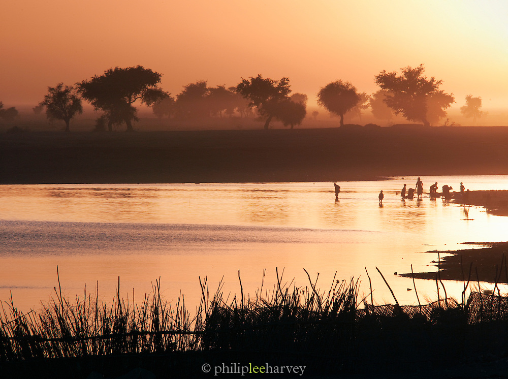 People wash in the Bani River which passes by Djenné, Mali