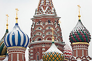 Moscow, Russia, 20/02/2005..The domes of St Basil's Cathedral in a snowbound Red Square.