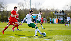 WREXHAM, WALES - Friday, March 26, 2021: Republic of Ireland's Louie Watson crosses the ball during an Under-21 international friendly match between Wales and Republic of Ireland at Colliers Park. Republic of Ireland won 2-1. (Pic by David Rawcliffe/Propaganda)