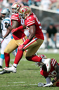 San Francisco 49ers defensive end Elvis Dumervil (58) leaps in the air as he chases the action during the 2017 NFL week 1 regular season football game against the Carolina Panthers, Sunday, Sept. 10, 2017 in Santa Clara, Calif. The Panthers won the game 23-3. (©Paul Anthony Spinelli)