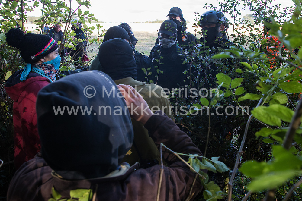 Aylesbury Vale, UK. 1st October, 2020. National Eviction Team bailiffs working on behalf of HS2 Ltd push anti-HS2 activists back from a field into ancient woodland at Jones' Hill Wood during evictions from a wildlife protection camp. Around 40 environmental activists and local residents, some of whom living in makeshift tree houses 60 feet above the ground, were present during the evictions at Jones' Hill Wood which had served as one of several protest camps set up along the route of the £106bn HS2 high-speed rail link in order to resist the controversial infrastructure project.