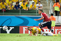 Neymar da Silva Santos Junior (Brazil)    Juan Camilo Zuniga Mosquera (Colombia)       ; <br /> July 04; 2014 - Football : Fifa World Cup Brazil  2014; Match 57; final match between Brazil 2-1 Colombia  at<br /> Estadio Castelao; Fortaleza, Brazil.;  accident ;( photo by aicfoto)(ITALY) [0855]