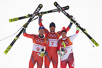 PYEONGCHANG,SOUTH KOREA,15.FEB.18 - OLYMPICS, ALPINE SKIING - Olympic Winter Games PyeongChang 2018, downhill, men. Image shows the rejoicing of Kjetil Jansrud (NOR), Aksel Lund Svindal (NOR) and Beat Feuz (SUI). <br /> <br /> Norway only