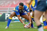 Doncaster RLFC second row Charlie Martin (18) plays the ball during the Challenge Cup 2018 match between Doncaster and Featherstone Rovers at the Keepmoat Stadium, Doncaster, England on 22 April 2018. Picture by Simon Davies.