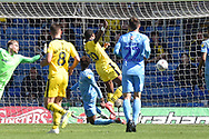 Oxford United striker Jon Obika (20) scores a goal from open play 1-2 during the EFL Sky Bet League 1 match between Oxford United and Coventry City at the Kassam Stadium, Oxford, England on 9 September 2018.