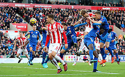 Stoke City's Peter Crouch (centre right) scores his side's second goal of the game