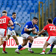 Roma 13/03/2021, Stadio Olimpico<br /> Guinness Six Nations 2021<br /> Italia vs Galles<br /> <br /> Marco Riccioni si prepara al placcaggio di Uilisi Halaholo