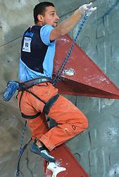 Climber Blaz Rant (SLO) at World cup competition in Zlato polje, Kranj, Slovenia, on November 15, 2008.  (Photo by Vid Ponikvar / Sportida)