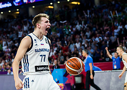 Luka Doncic of Slovenia reacts during the Final basketball match between National Teams  Slovenia and Serbia at Day 18 of the FIBA EuroBasket 2017 at Sinan Erdem Dome in Istanbul, Turkey on September 17, 2017. Photo by Vid Ponikvar / Sportida