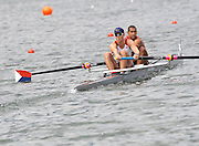Lucerne, SWITZERLAND, USA M2- Bow  David BANKS and Charles COLE,  move away from the start, of the third round of the  2009 FISA World Cup,  on the Rottsee regatta Course, Friday  10/07/2009 [Mandatory Credit Peter Spurrier/ Intersport Images]