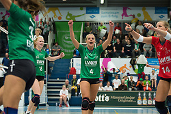 16-10-2013 VOLLEYBAL: USC MUENSTER - VOLLEYSTARS THUERINGEN: MUENSTER<br /> Jubel Tess von Piekartz (#4 USC Muenster)<br /> ***NETHERLANDS ONLY***<br /> ©2013-FotoHoogendoorn.nl