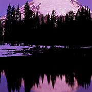 North America, United States, US, USA, Washington, Northwest, Mt. Rainier National Park<br /> Massive Mt. Rainier reflecting in the icy waters of Tipsoo lake, Mt. Rainier National Park, WA